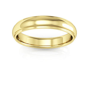 14K Yellow Gold 4mm half round edge comfort fit wedding bands