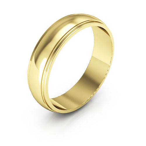 10K Yellow Gold 5mm half round edge  wedding bands