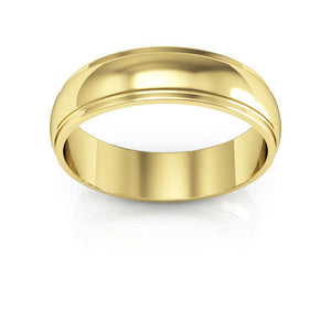 14K Yellow Gold 5mm half round edge  wedding bands