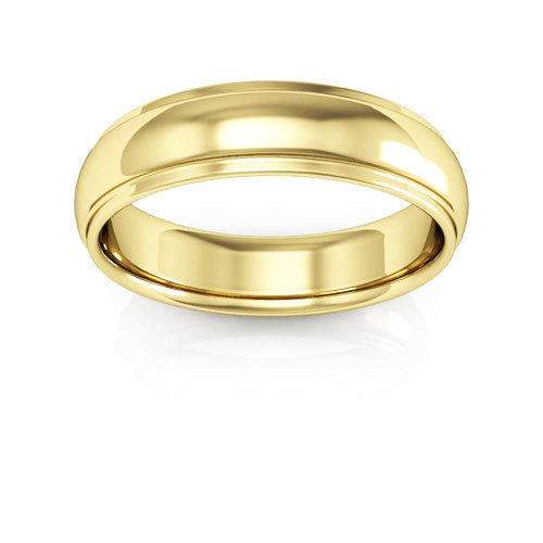 14K Yellow Gold 5mm half round edge comfort fit wedding bands