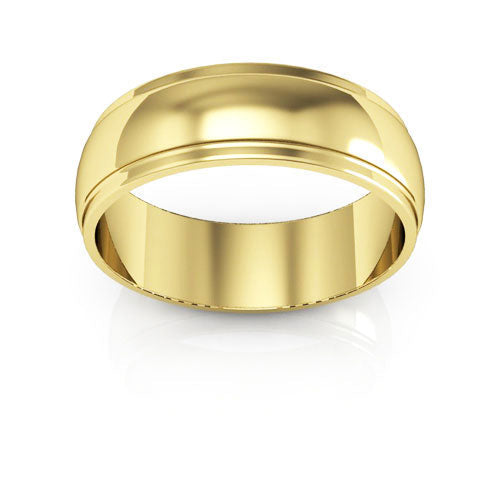 18K Yellow Gold 6mm half round edge  wedding bands