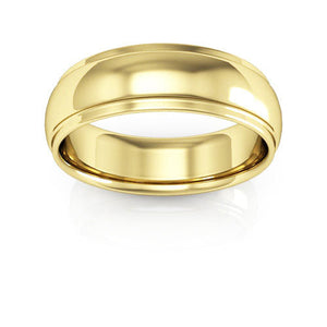 14K Yellow Gold 6mm half round edge comfort fit wedding bands