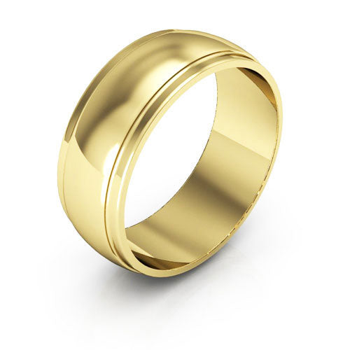 18K Yellow Gold 7mm half round edge  wedding bands