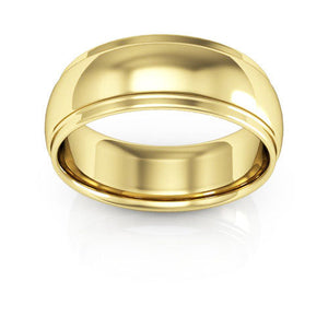 14K Yellow Gold 7mm half round edge comfort fit wedding bands