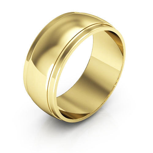 18K Yellow Gold 8mm half round edge  wedding bands