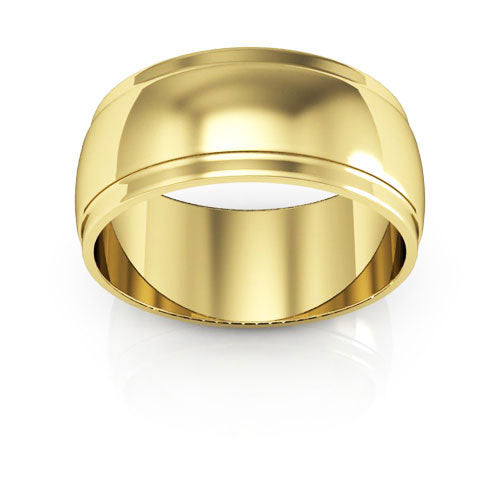 10K Yellow Gold 8mm half round edge  wedding bands