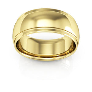 14K Yellow Gold 8mm half round edge comfort fit wedding bands