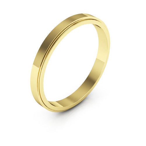 18K Yellow Gold 2.5mm flat edge  wedding bands