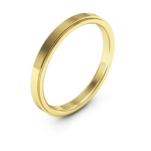 18K Yellow Gold 2.5mm flat edge comfort fit wedding bands