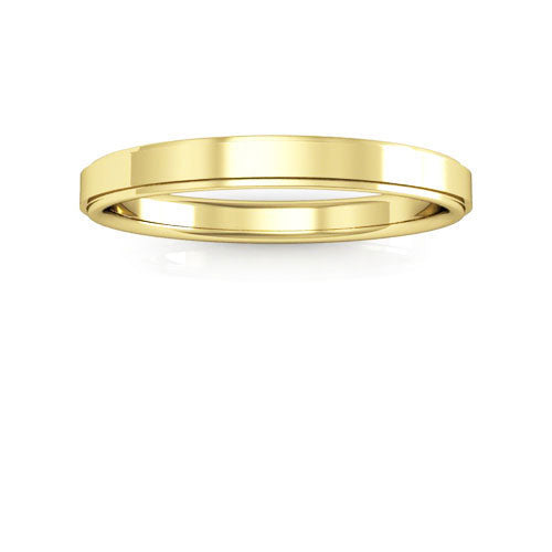 14K Yellow Gold 2.5mm flat edge comfort fit wedding bands