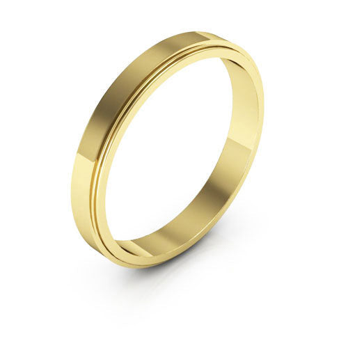 18K Yellow Gold 3mm flat edge  wedding bands