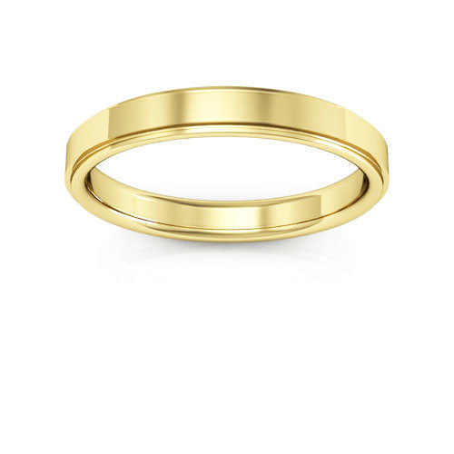 18K Yellow Gold 3mm flat edge comfort fit wedding bands