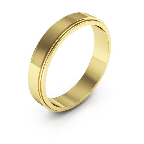 18K Yellow Gold 4mm flat edge  wedding bands