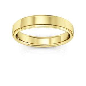 10K Yellow Gold 4mm flat edge comfort fit wedding bands