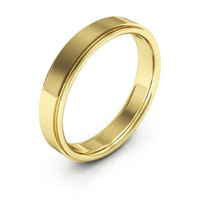 18K Yellow Gold 4mm flat edge comfort fit wedding bands