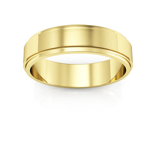18K Yellow Gold 5mm flat edge  wedding bands