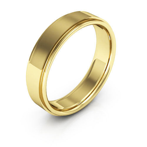 14K Yellow Gold 5mm flat edge comfort fit wedding bands