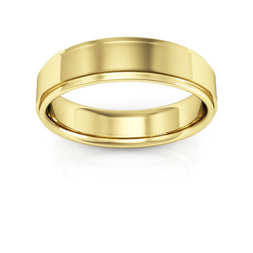 18K Yellow Gold 5mm flat edge comfort fit wedding bands