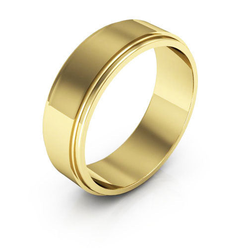 18K Yellow Gold 6mm flat edge  wedding bands