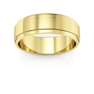 14K Yellow Gold 6mm flat edge  wedding bands