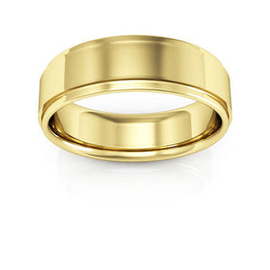 10K Yellow Gold 6mm flat edge comfort fit wedding bands