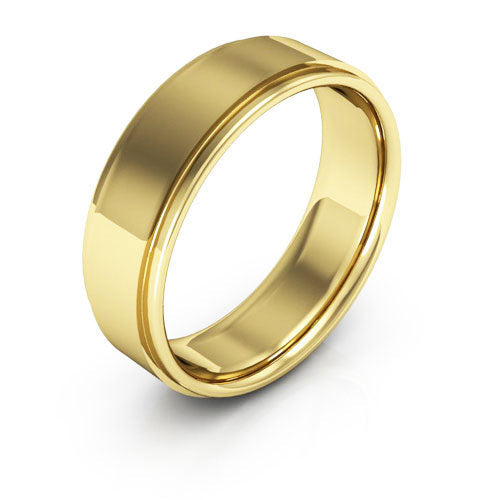 18K Yellow Gold 6mm flat edge comfort fit wedding bands