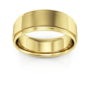 14K Yellow Gold 7mm flat edge comfort fit wedding bands