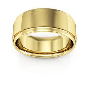 10K Yellow Gold 8mm flat edge comfort fit wedding bands