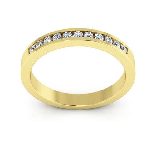 14K Yellow gold 3mm channel set  women's 0.22 carats diamond wedding bands.