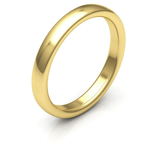 10K Yellow Gold 3mm low dome comfort fit wedding bands