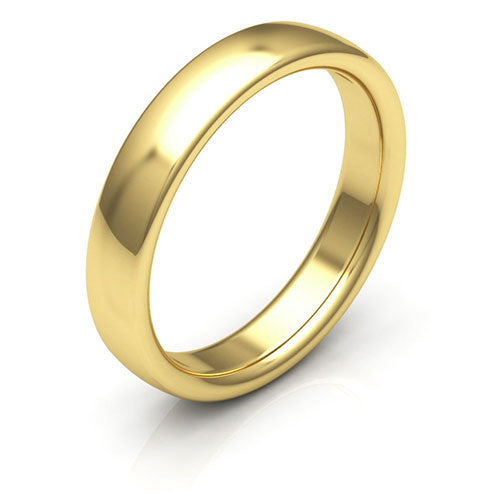 14K Yellow Gold 4mm low dome comfort fit wedding bands