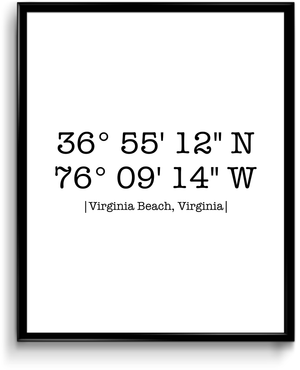 Virginia Beach, VA - Coordinates Print