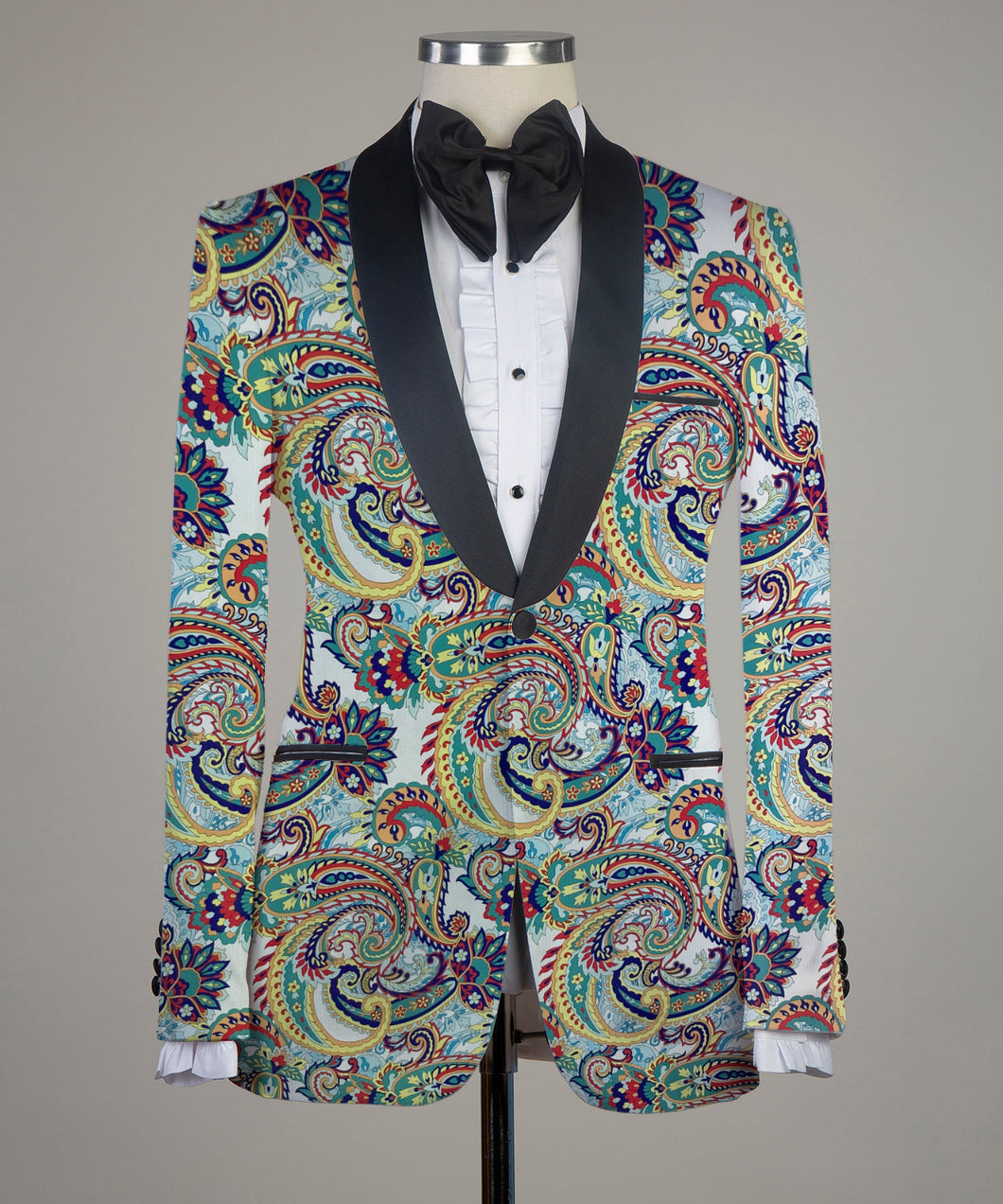 Digital Printed Paisley Colorful 2 Pieces Tuxedo