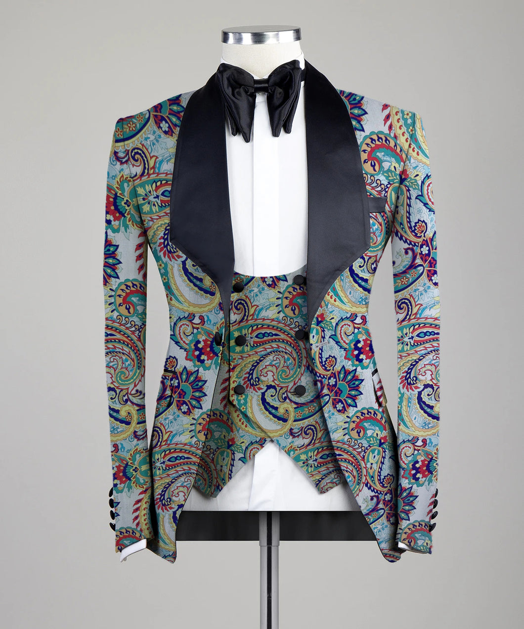 Digital Printed Paisley Colorful Three Pieces Tuxedo