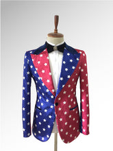 Load image into Gallery viewer, Velvet Blue and Red tuxedo