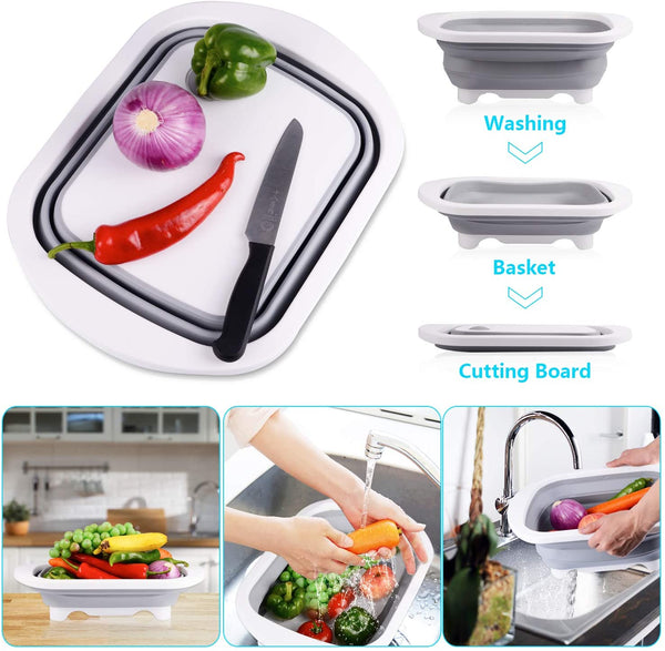 3 in 1 Cutting Board Multi Function Chopping Block Kitchen Sink Drain Basket Multifunction Washable Cutting Board