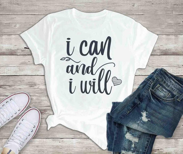 Women Tshirt Mom Christian Slogan Graphic Tees Tops I Can and I Will Inspirational T-shirt Motivational Quote Valentines Gift