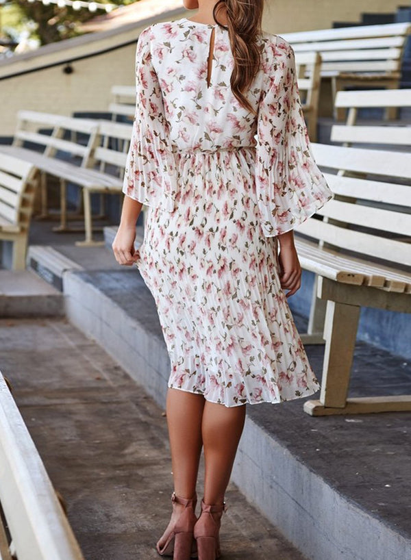 Floral Pleated Button Back Midi Dress