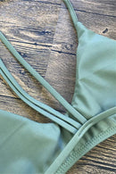Olive Strappy Triangle Brazilian Bikini Swimsuit - Two Piece Set