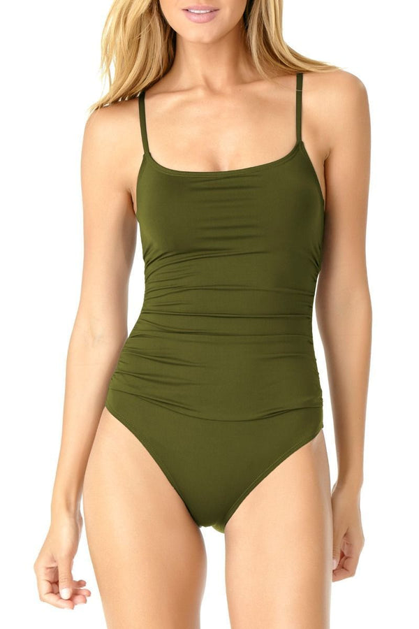 Women's Shirred Lingerie Maillot One Piece
