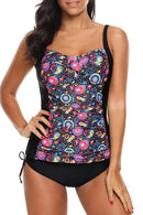 Flower Print Ruched Design Tankini Set