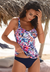 NAVY PRINTED FASHION STRAP TANKINI SET