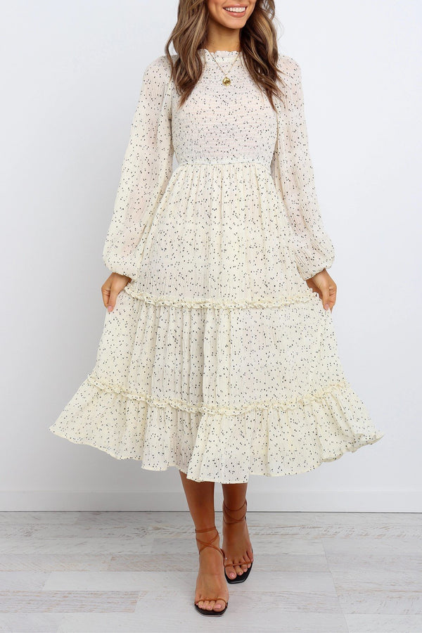 Elasticised Waist Long Sleeves Midi Cream Dress