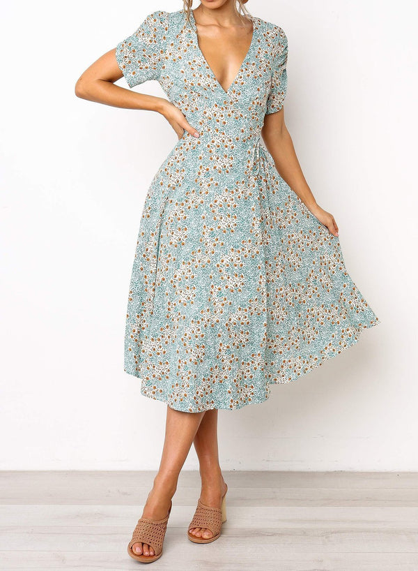 Deep V-neck Wrap Style Floral Midi Dress