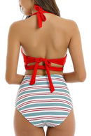 White striped high-waist bikini set