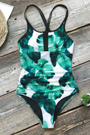 Leaves Print Ruched One-piece Swimsuit
