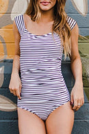 The Striped Bardot One-piece