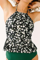 Tiny Floral High-Neck Peplum Swimsuit
