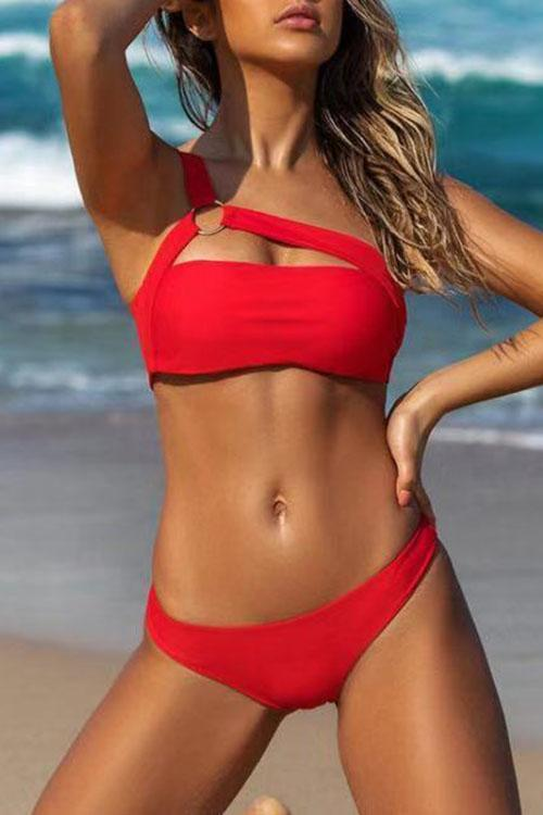 Push-up Lace Up Halter Bikini Set