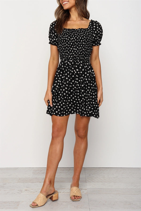 Short Sleeves Floral Print Black Dress